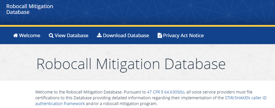 Robocall Mitigation Database website